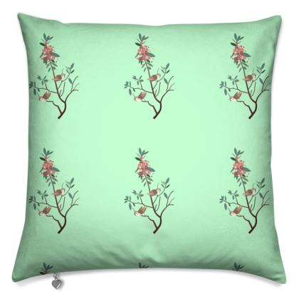 Cushions- Emmeline Anne Birds On a Branch, Mint
