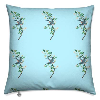 Cushions- Emmeline Anne Birds On a Branch, Blue
