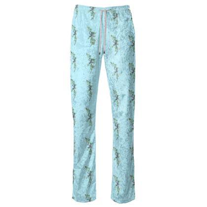 Women's Trousers - Emmeline Anne Birds On a Branch Blue