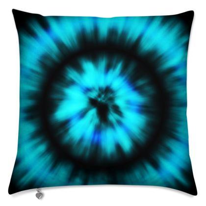 blue black tie dye painting cushions
