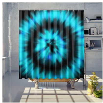 blue black tie dye painting shower curtain