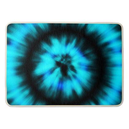 blue black tie dye painting bath mat