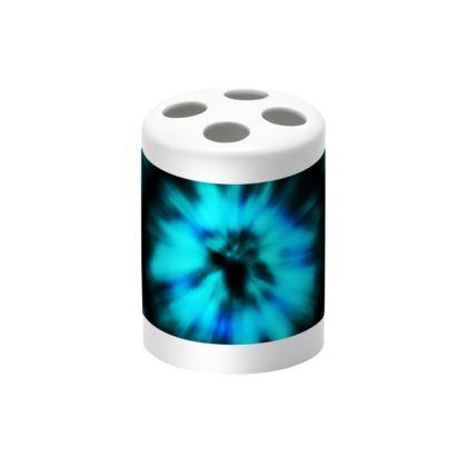 blue black tie dye painting toothbrush holder