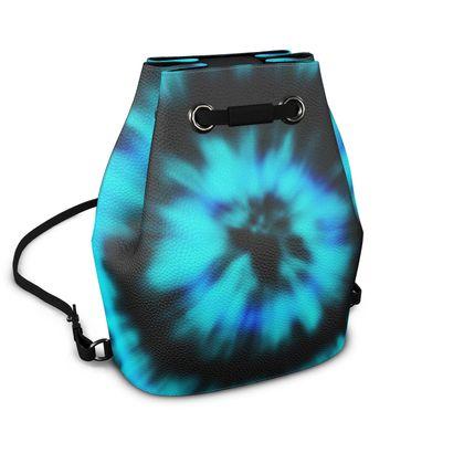 blue black tie dye painting bucket backpack