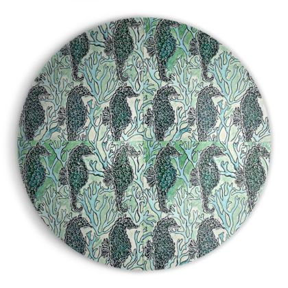 'Seahorses III' Ornamental Bowl in Green and Blue