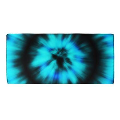 blue black tie dye painting travel wallet