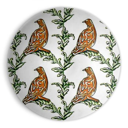 'Partridge' Ornamental Bowl in Brown and White