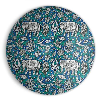 Oriental 'Elephant' Ornamental Bowl in Blue and Green