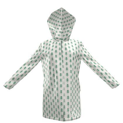 Take a hikeWomens Hooded Rain Mac - Woods, ecological, eco friendly gift, light, green and white, spruce forest, fir-trees, natural, nature, elegant, wildlife, minimalist - design by Tiana Lofd