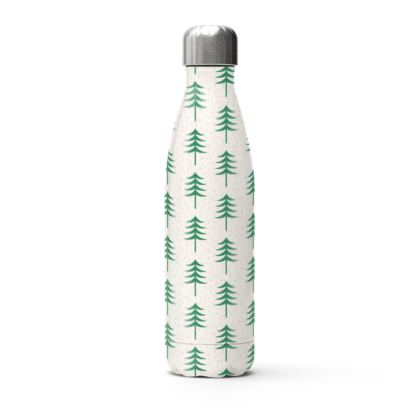 Take a hike - Stainless Steel Thermal Bottle - Woods, ecological, eco friendly gift, light, green and white, spruce forest, fir-trees, natural, nature, elegant, wildlife, minimalist - design by Tiana Lofd