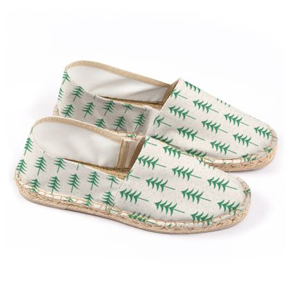 Espadrilles - Take a hike - Woods, ecological, eco friendly gift, light, green and white, spruce forest, fir-trees, natural, nature, elegant, wildlife, minimalist - design by Tiana Lofd