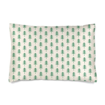 Take a hike - Silk Pillow Cases sizes - Woods, ecological, eco friendly gift, light, green and white, spruce forest, fir-trees, natural, nature, elegant, wildlife, minimalist - design by Tiana Lofd