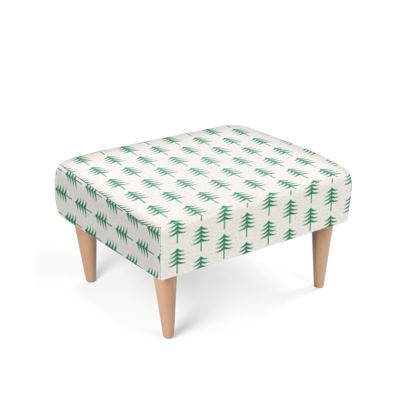 Footstool - Take a hike - Woods, ecological, eco friendly gift, light, green and white, spruce forest, fir-trees, natural, nature, elegant, wildlife, minimalist - design by Tiana Lofd