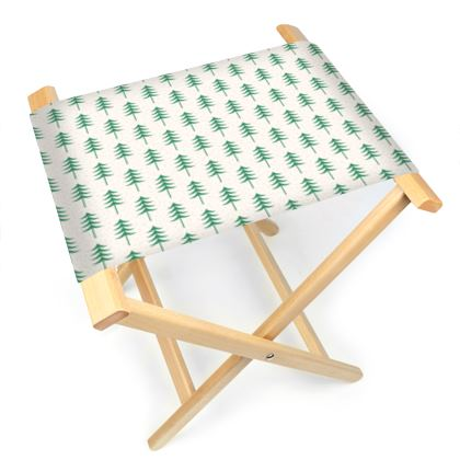 Take a hike - Folding Stool Chair - Woods, ecological, eco friendly gift, light, green and white, spruce forest, fir-trees, natural, nature, elegant, wildlife, minimalist - design by Tiana Lofd