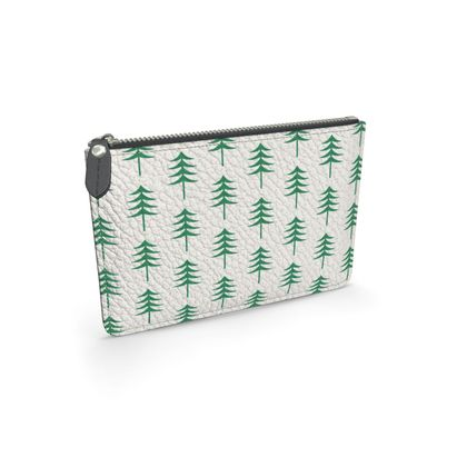 Take a hike - Leather pouch - Woods, ecological, eco friendly gift, light, green and white, spruce forest, fir-trees, natural, nature, elegant, wildlife, minimalist - design by Tiana Lofd