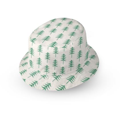 Take a hike - Bucket Hat - Woods, ecological, eco friendly gift, light, green and white, spruce forest, fir-trees, natural, nature, elegant, wildlife, minimalist - design by Tiana Lofd