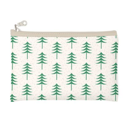 Take a hike - Zip Top Pouch - Woods, ecological, eco friendly gift, light, green and white, spruce forest, fir-trees, natural, nature, elegant, wildlife, minimalist - design by Tiana Lofd