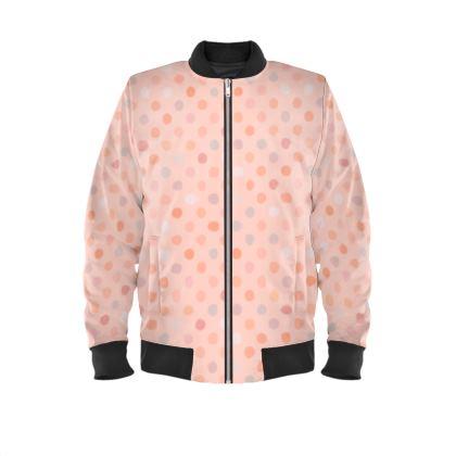 Silky dots - Mens Bomber Jacket - Peach polka dot, powdery pink and silky, feminine vintage, girly, lovely gift, baby, kids - design by Tiana Lofd