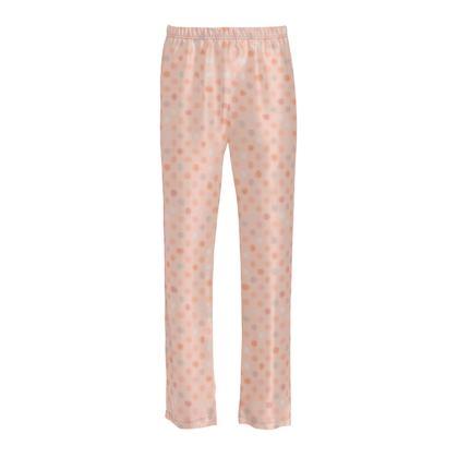 Silky dotsLadies - Silk Pyjama Bottoms - Peach polka dot, powdery pink and silky, feminine vintage, girly, lovely gift, baby, kids - design by Tiana Lofd
