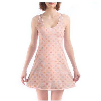 Chemise - Silky dots - Peach polka dot, powdery pink and silky, feminine vintage, girly, baby, kids lovely gift - design by Tiana Lofd