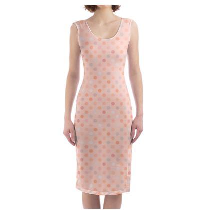 Silky dots - Bodycon Dress - Peach polka dot, powdery pink and silky, feminine vintage, girly, baby, kids lovely gift - design by Tiana Lofd