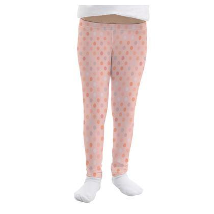 Silky dots - Girls Leggings - Peach polka dot, powdery pink and silky, feminine vintage, girly, baby, kids lovely gift - design by Tiana Lofd