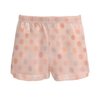 Silky dotsLadies - Silk Pyjama Shorts - Peach polka dot, powdery pink and silky, feminine vintage, girly, baby, kids lovely gift - design by Tiana Lofd