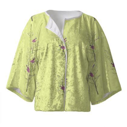 Kimono Jacket -Emmeline Anne Birds On a Branch Lemon