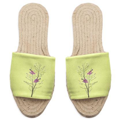 Sandal Espadrilles - Emmeline Anne Birds On a Branch Lemon