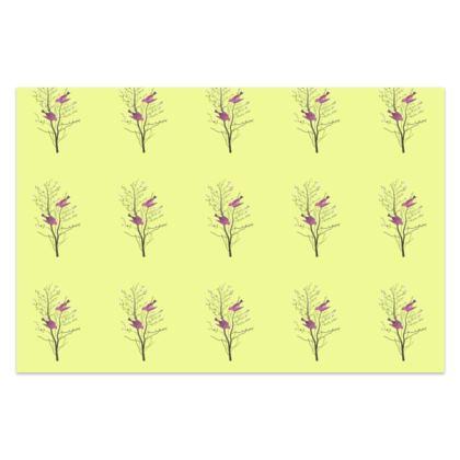 Sarong - Emmeline Anne Birds On a Branch Lemon