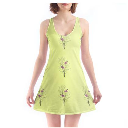 Beach Dress - Emmeline Anne Birds On a Branch Lemon