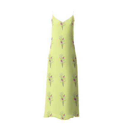 Slip Dress - Emmeline Anne Birds On a Branch Lemon