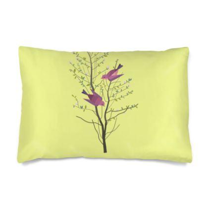 Silk Pillow Case - Emmeline Anne Birds On a==================== Lemon