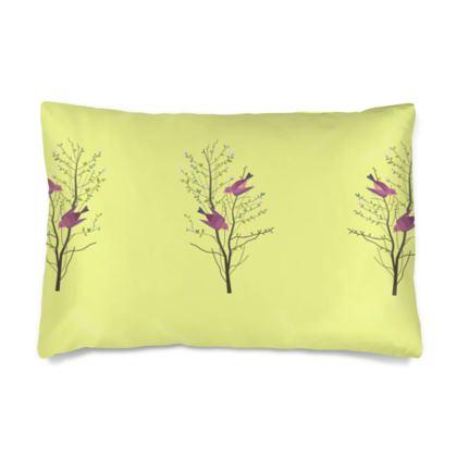Silk Pillow Cases sizes- Emmeline Anne Birds On a Branch Lemon