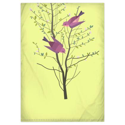 Duvet Covers - Emmeline Anne Birds On a Branch Lemon