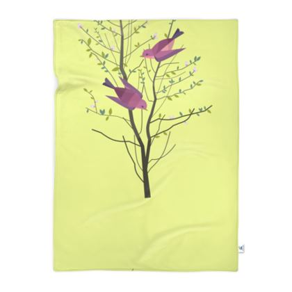 Blanket - Emmeline Anne Birds On a Branch Lemon