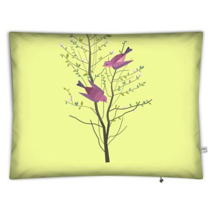 Floor cushions - Emmeline Anne Birds On a Branch Lemon