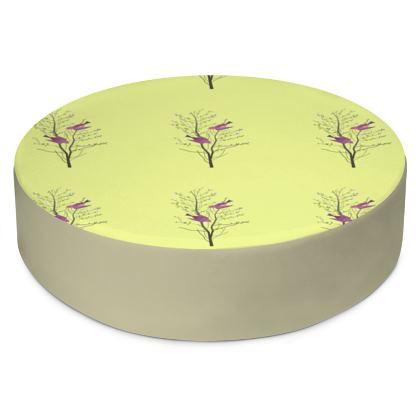 Round Floor Cushions - Emmeline Anne Birds On a Branch Lemon