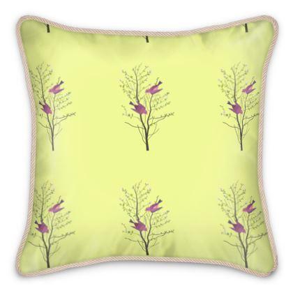 Silk Cushions - Emmeline Anne Birds On a Branch Lemon