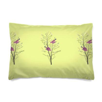 Pillow Case - Emmeline Anne Birds On a Branch Lemon