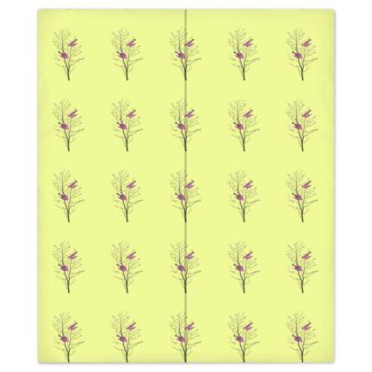 Bed Sheets - Emmeline Anne Birds On a Branch Lemon