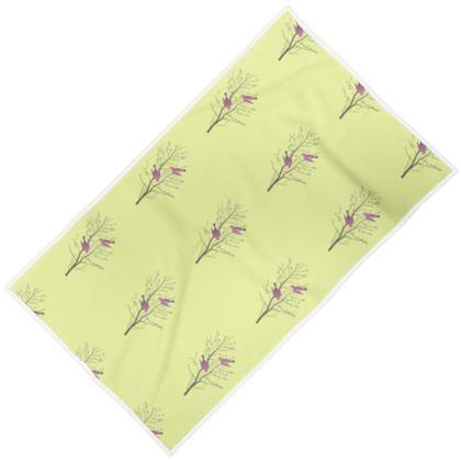 Towels - Emmeline Anne Birds On a Branch Lemon