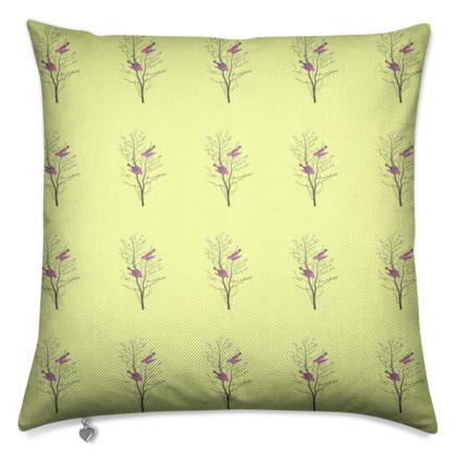 Luxury Cushions- Emmeline Anne Birds On a Branch Lemon