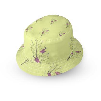 Bucket Hat - Emmeline Anne Birds On a Branch Lemon