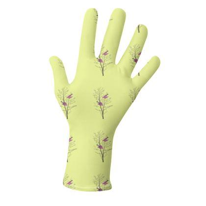 Lycra Gloves -Emmeline Anne Birds On a Branch Lemon