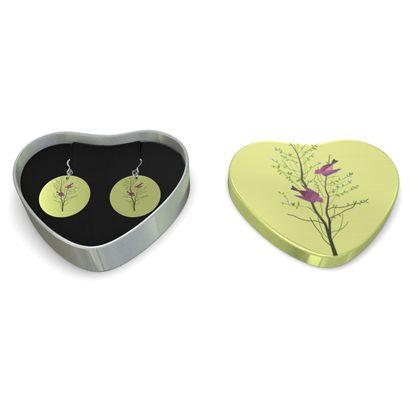 Sterling silver earrings - Emmeline Anne Birds On a Branch Lemon