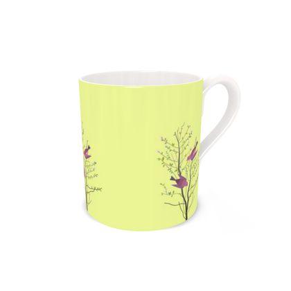 Bone China Mug- Emmeline Anne Birds On a Branch Lemon