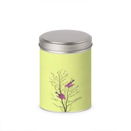 Cylinder Tins- Emmeline Anne Birds On a Branch Lemon
