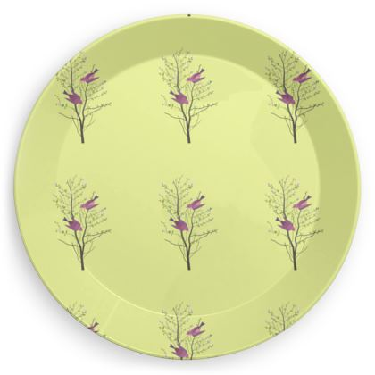 Party Plates- Emmeline Anne Birds On a Branch Lemon