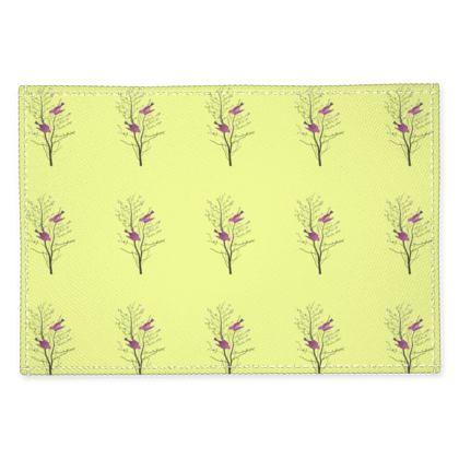 Fabric Placemats- Emmeline Anne Birds On a Branch Lemon